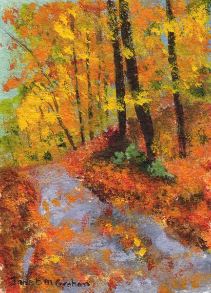 """Autumn Road ACEO"" original fine art by Janet Graham"