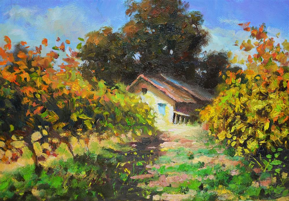 """""""Dream Cottage with vineyard  -  Landscape oil painting Countryside of France"""" original fine art by Nick Sarazan"""