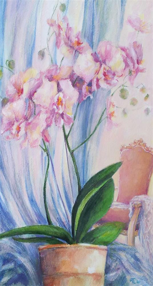 """""""Orchids and Rococo chair"""" original fine art by Olga Touboltseva-Lefort"""