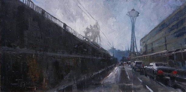 """Space Race Seattle city oil painting by Robin Weiss"" original fine art by Robin Weiss"