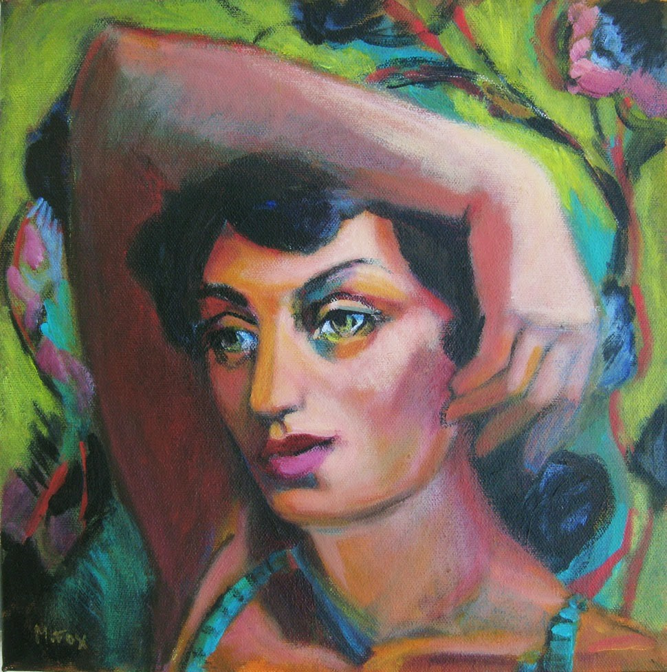 """""""Figurative painting of woman, female figuration, contemporary figure painter, woman's face"""" original fine art by Marie Fox"""
