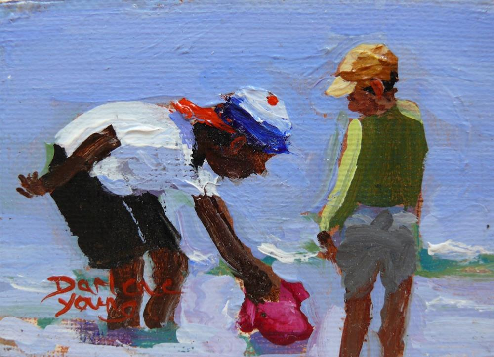"""866 Beach Boys, oil on board, 2.5 x 3.5"" original fine art by Darlene Young"