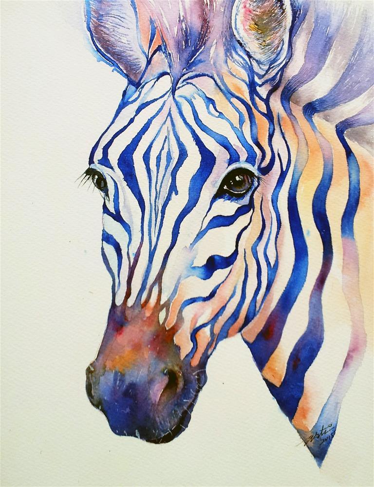 """""""Intense Blue zebra"""" original fine art by Arti Chauhan"""