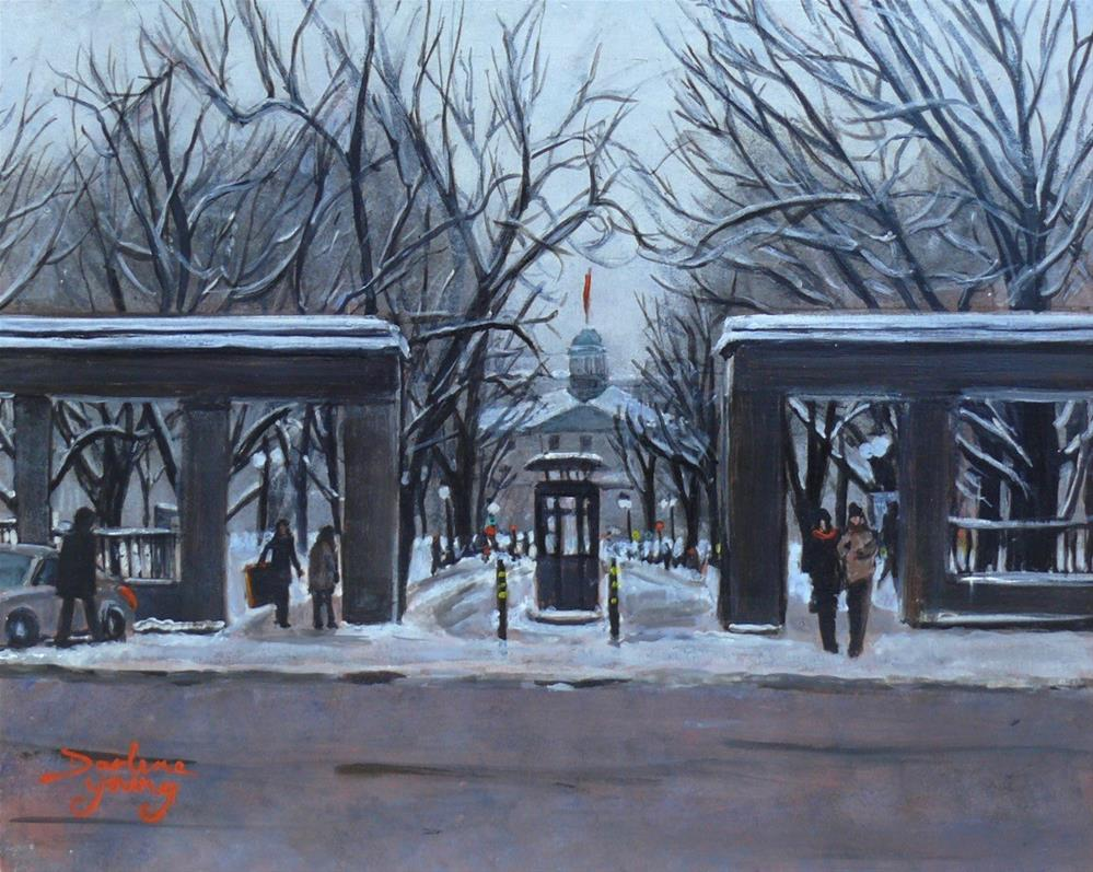 """1142 McGill University Front Gates, 8x10, egg tempera"" original fine art by Darlene Young"
