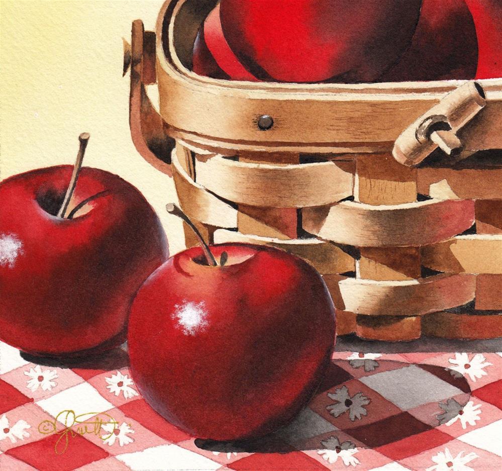 """Apples & Basket"" original fine art by Jacqueline Gnott, TWSA, WHS"