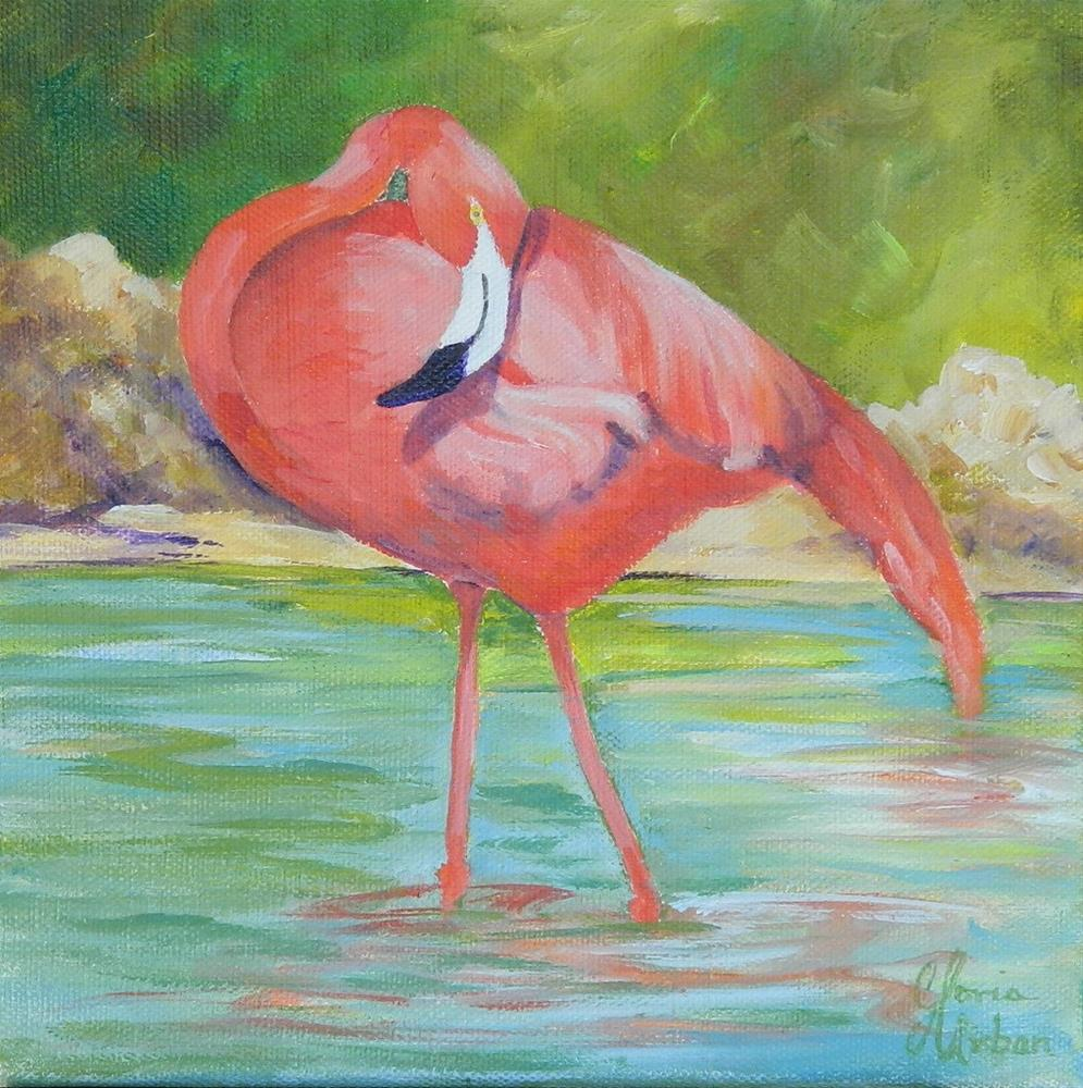 """Flamingo #3"" original fine art by Gloria Urban"