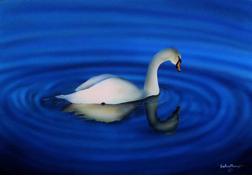 """Swan Lake"" original fine art by Fred Schollmeyer"