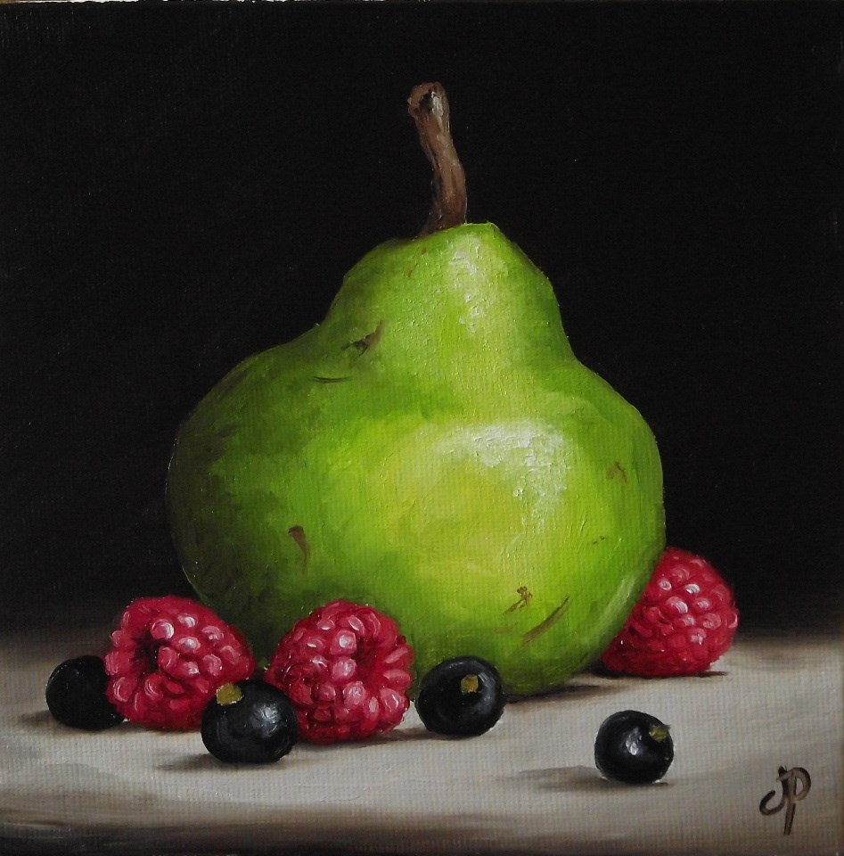 """""""Pear with Summer Fruits"""" original fine art by Jane Palmer"""