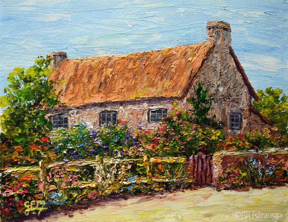 """Sunnydale Cottage"" original fine art by Gloria Ester"