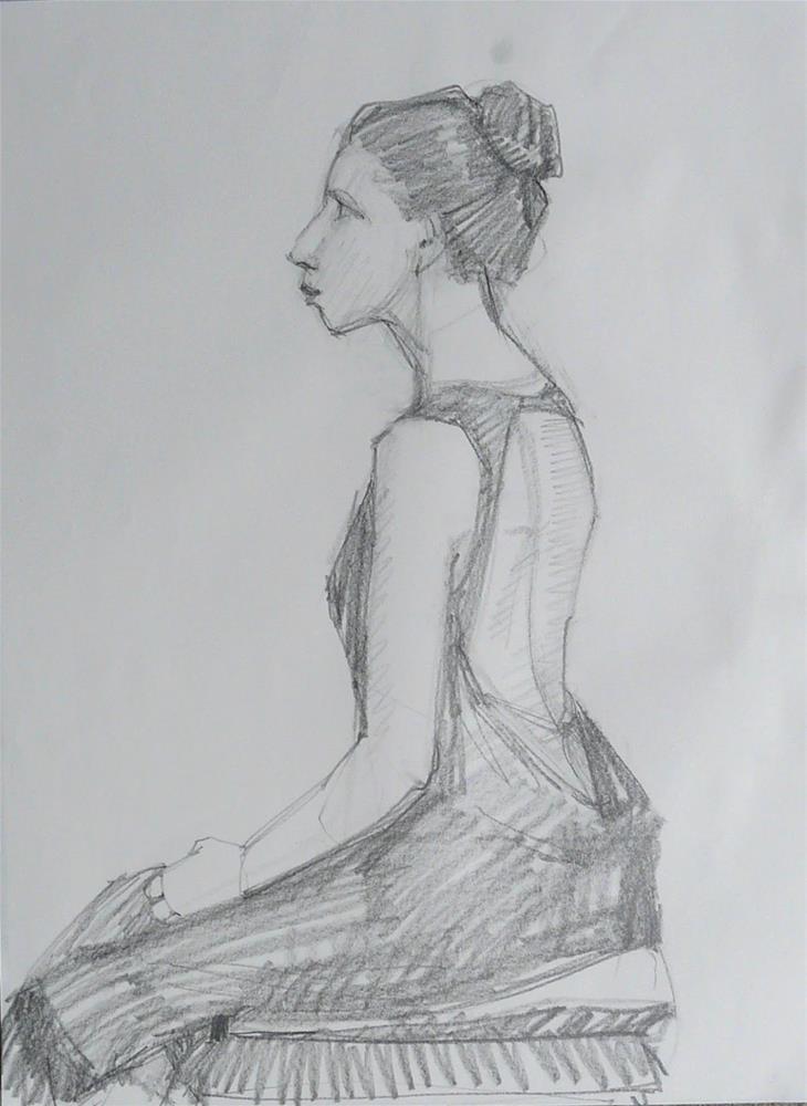 """Drawing of Cara,figure,graphite on paper,24x18,proice$200"" original fine art by Joy Olney"