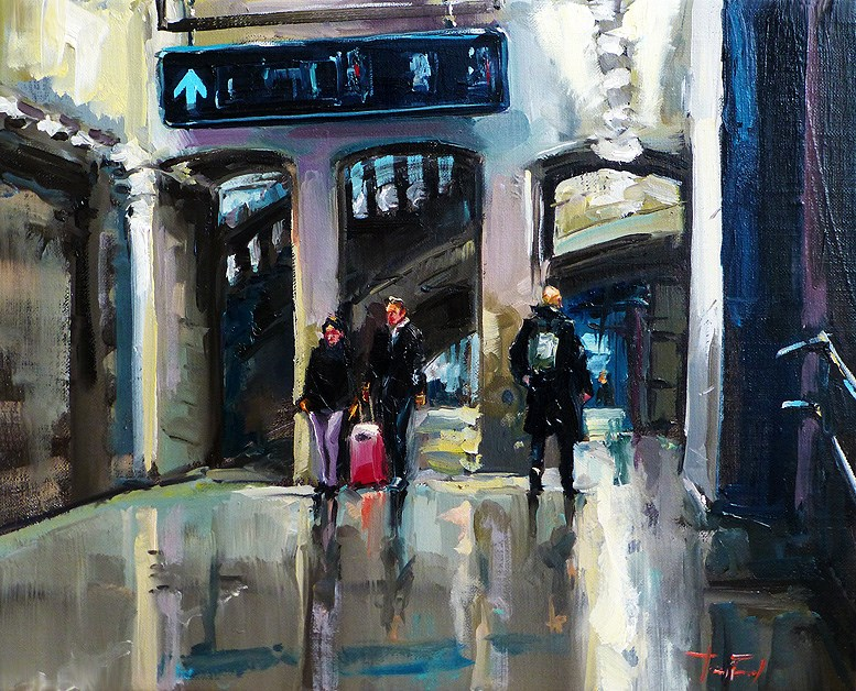 """at the station"" original fine art by Jurij Frey"