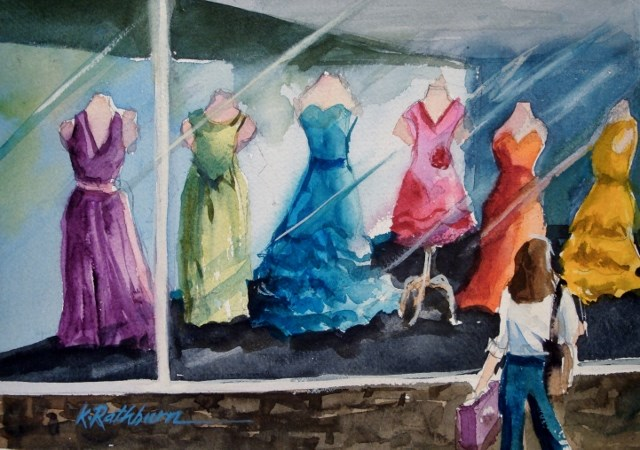 """""""It's All About the Dress"""" original fine art by Kathy Los-Rathburn"""