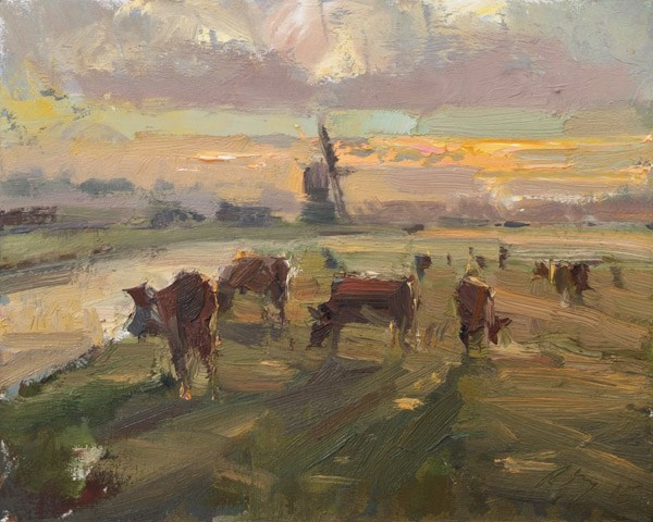 """""""Windmill and Cows in the Morning"""" original fine art by Roos Schuring"""