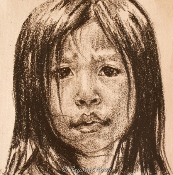 """""""Undecided - Southeast Asian girl"""" original fine art by Crystal Cook"""