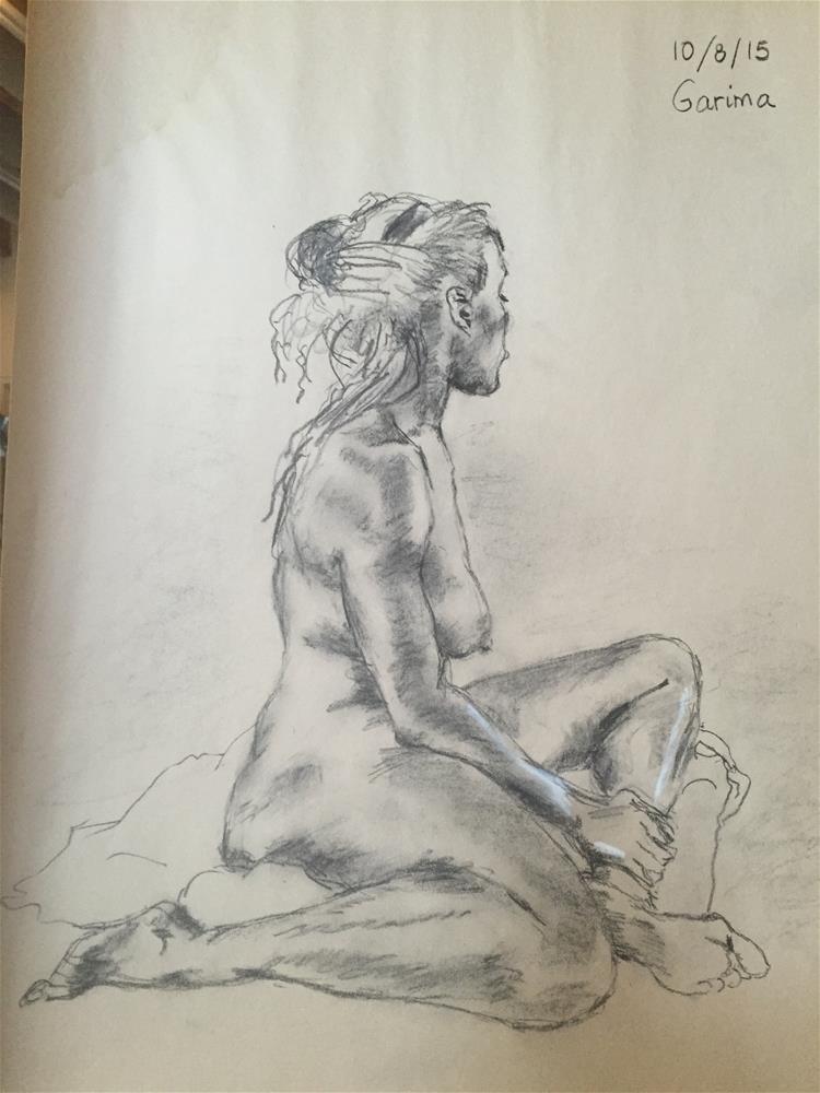 """""""Seated Nude"""" original fine art by Garima Heath"""