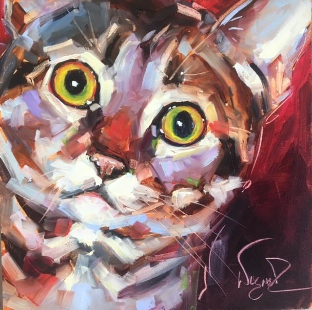 """ORIGINAL CONTEMPORARY TABBY KITTEN CAT PAINTING in OILS by OLGA WAGNER"" original fine art by Olga Wagner"
