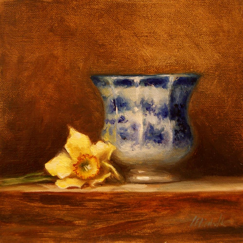 """Flow Blue Cup with Daffodil,  Oil on 6x6 Linen Panel"" original fine art by Carolina Elizabeth"