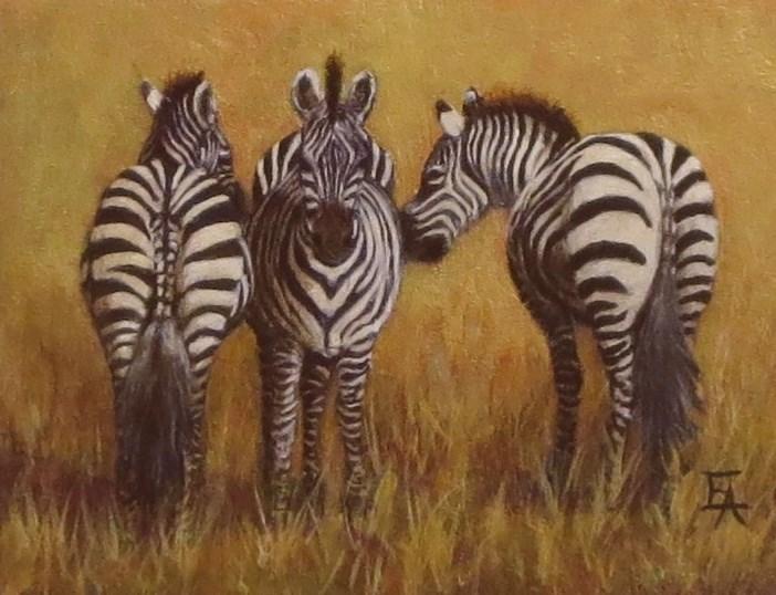 """We Three Zebras"" original fine art by Elizabeth Elgin"