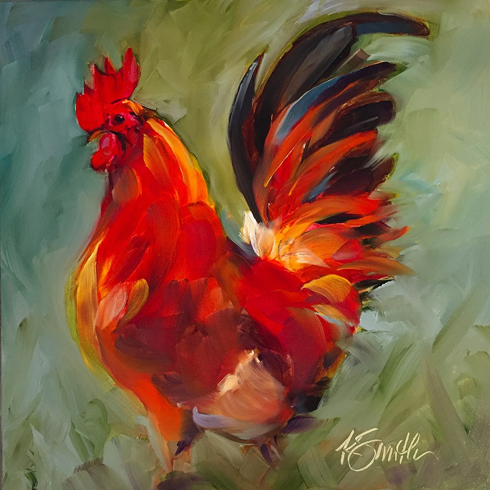 """""""rooster"""" original fine art by Kim Smith"""