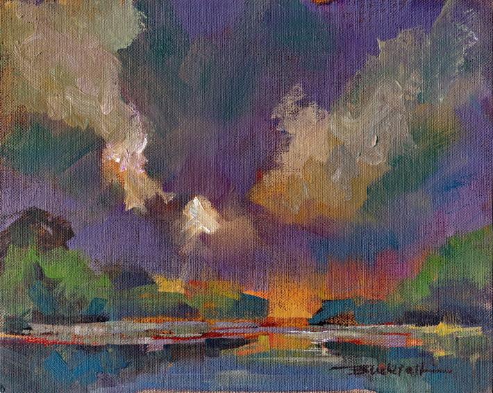 """""""Wetland Evening"""" original fine art by Brian Buckrell"""