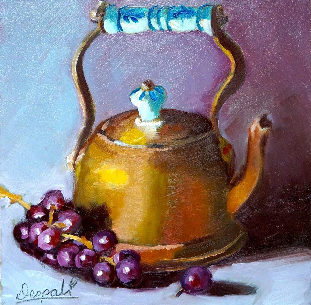 """Copper teapot with grapes"" original fine art by Dipali Rabadiya"