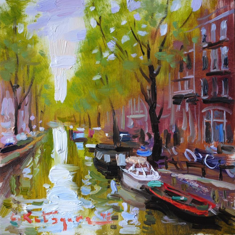 """Amsterdam Canal"" original fine art by Elena Katsyura"
