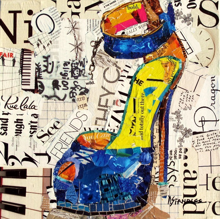 """Wild Friends, 12079, Blue High Heel SOLD"" original fine art by Nancy Standlee"