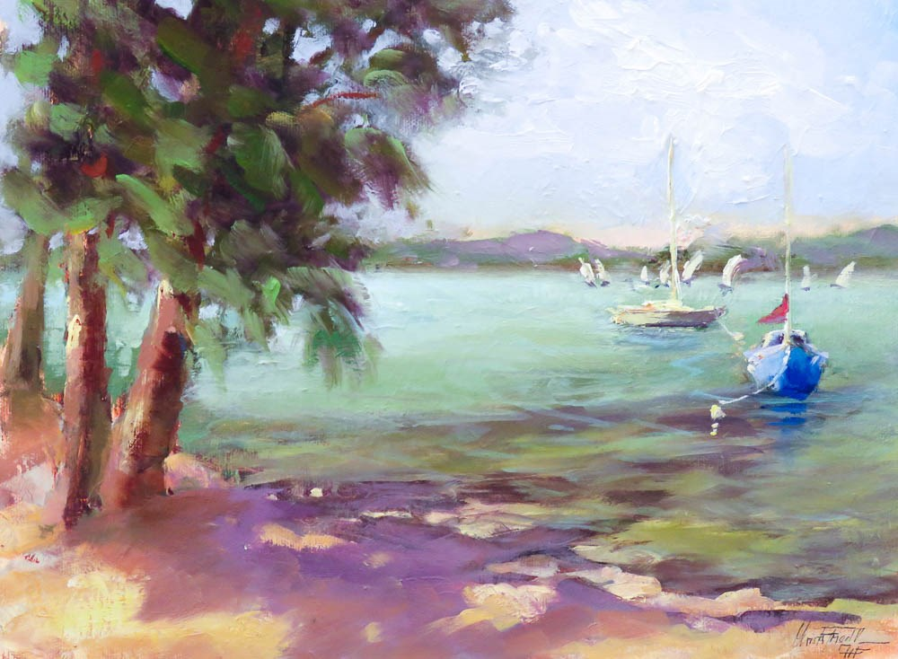 """Sailing Boats at Sarasota Bay"" original fine art by Christa Friedl"