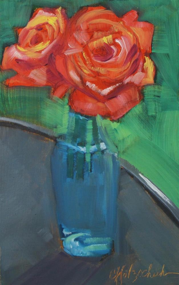 """""""Roses in Bottle"""" original fine art by Christine Holzschuh"""