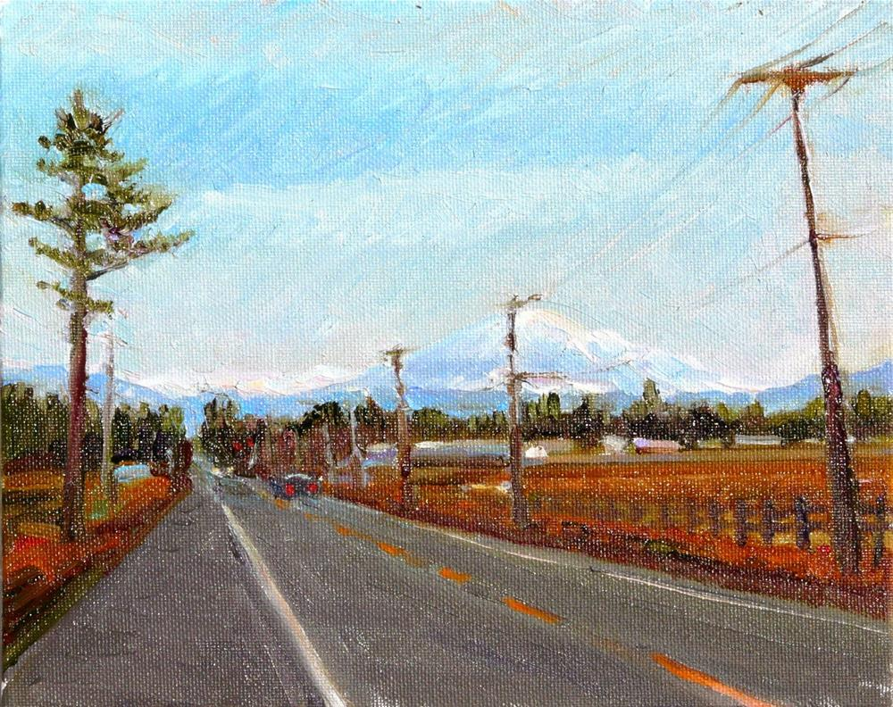 """Mt. Baker View from County,landscape,oil on canvas,8x10,price$300"" original fine art by Joy Olney"