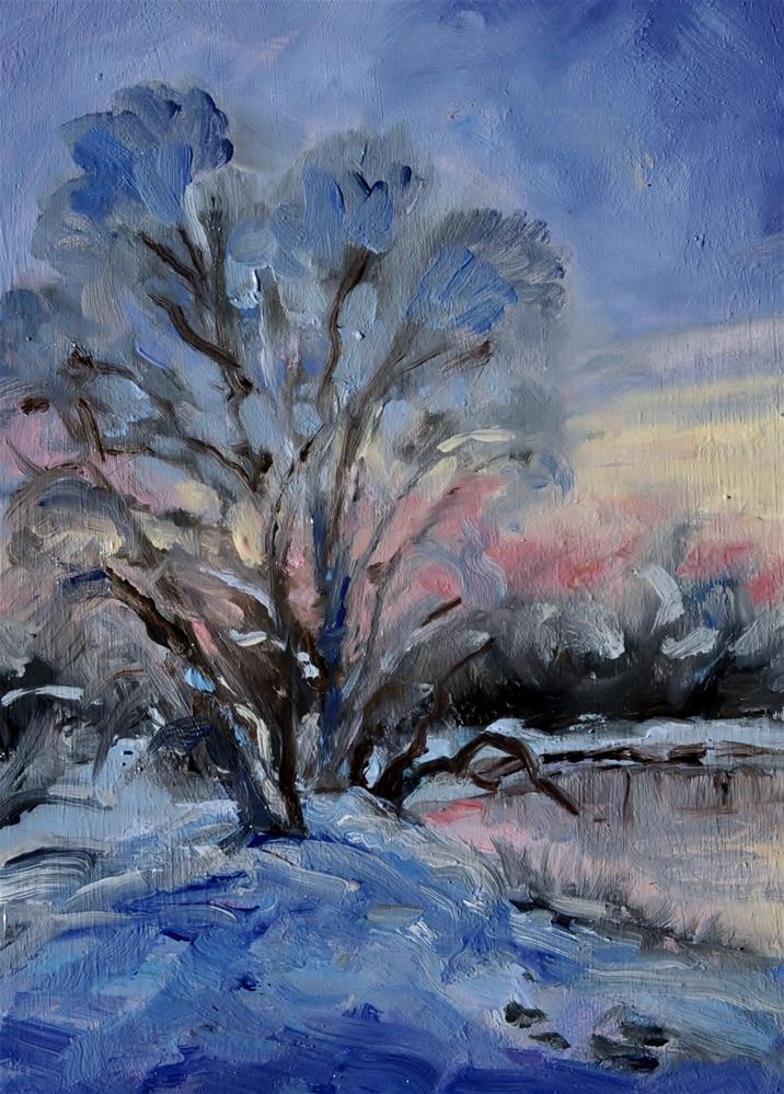 """Winter's Eve"" original fine art by Catherine Crookston"
