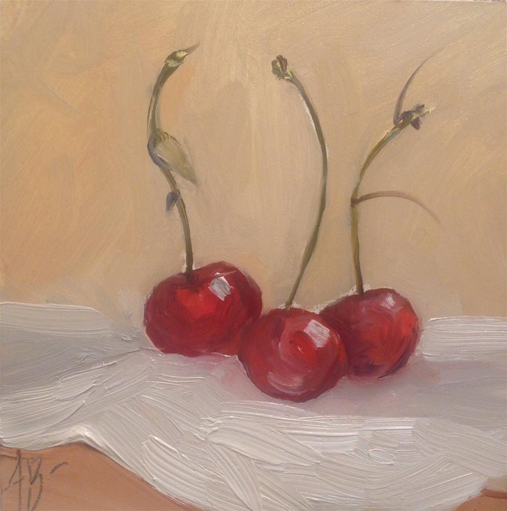 """""""Three picked Cherries"""" original fine art by Annette Balesteri"""