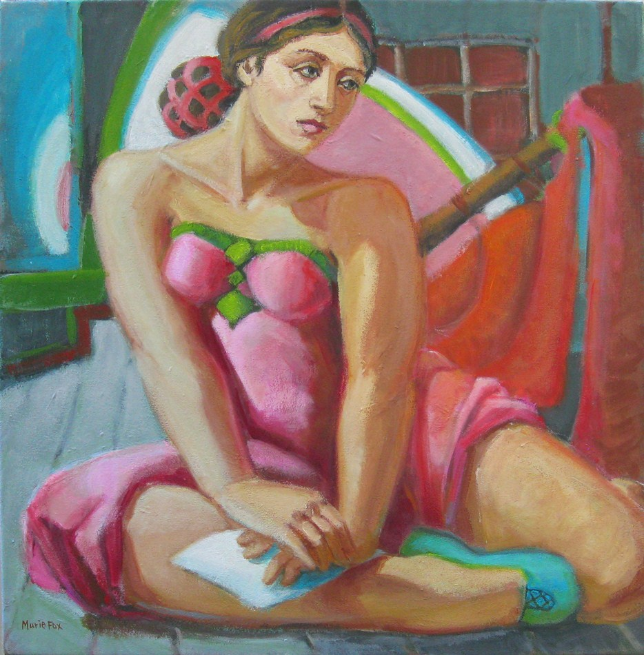 """""""Figurative painting by Marie Fox, woman at theatre, figuration, figure painter, actress with script"""" original fine art by Marie Fox"""