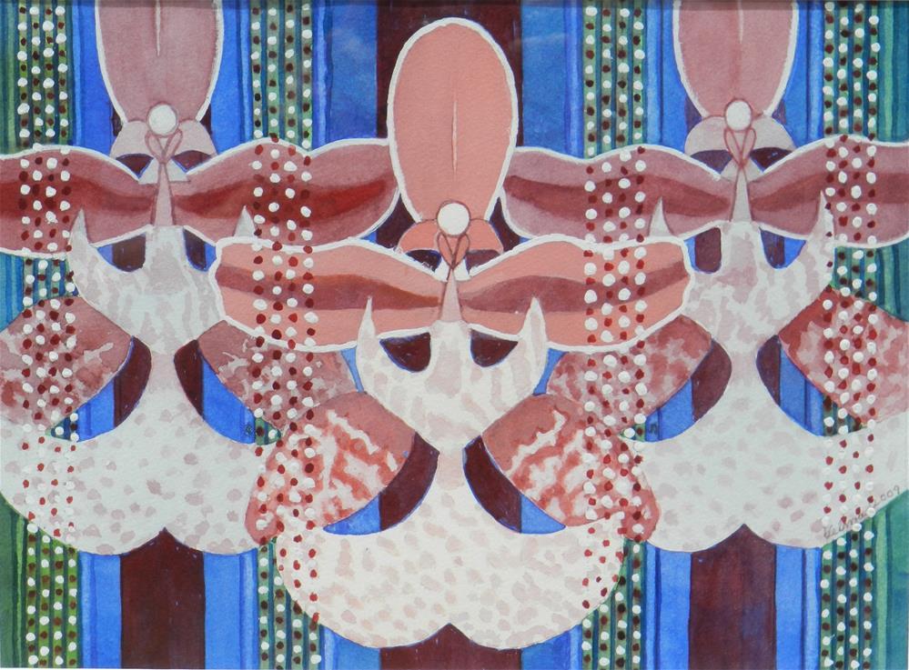 """Three Purple and White Orchids"" original fine art by Velma Davies"