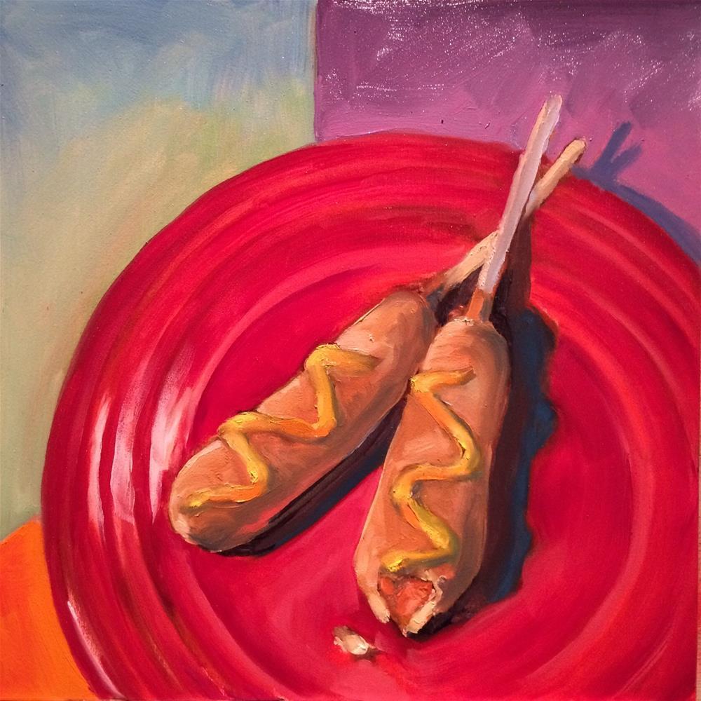 """""""Two Dog Dinner"""" original fine art by John Tullis"""