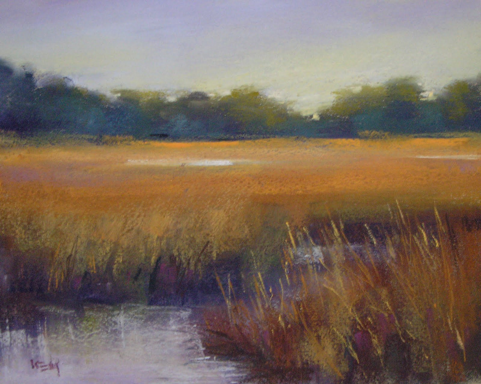 """Late Afternoon Marsh ...variation #3"" original fine art by Karen Margulis"