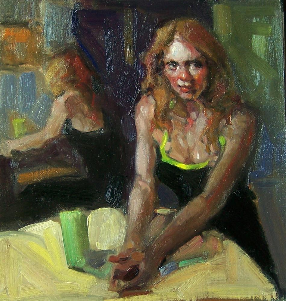 """Poised Kim Roberti's 6x6 original oil/linen/gatorboard"" original fine art by Kim Roberti"