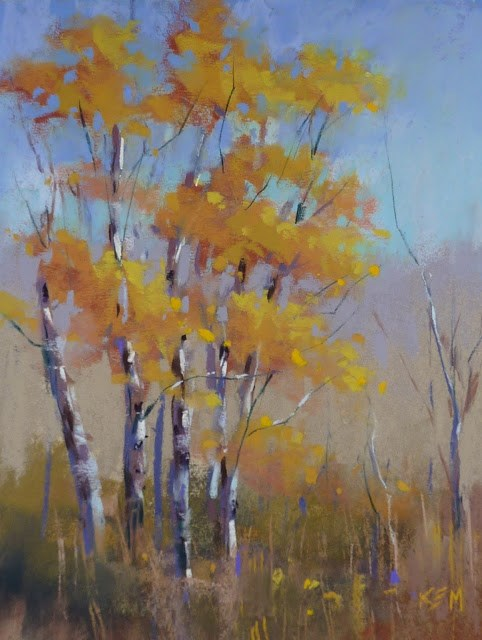 """""""Sunday Studio Pastel Demo Video: Painting Aspens with Terry Ludwig's Stunning Yellows"""" original fine art by Karen Margulis"""