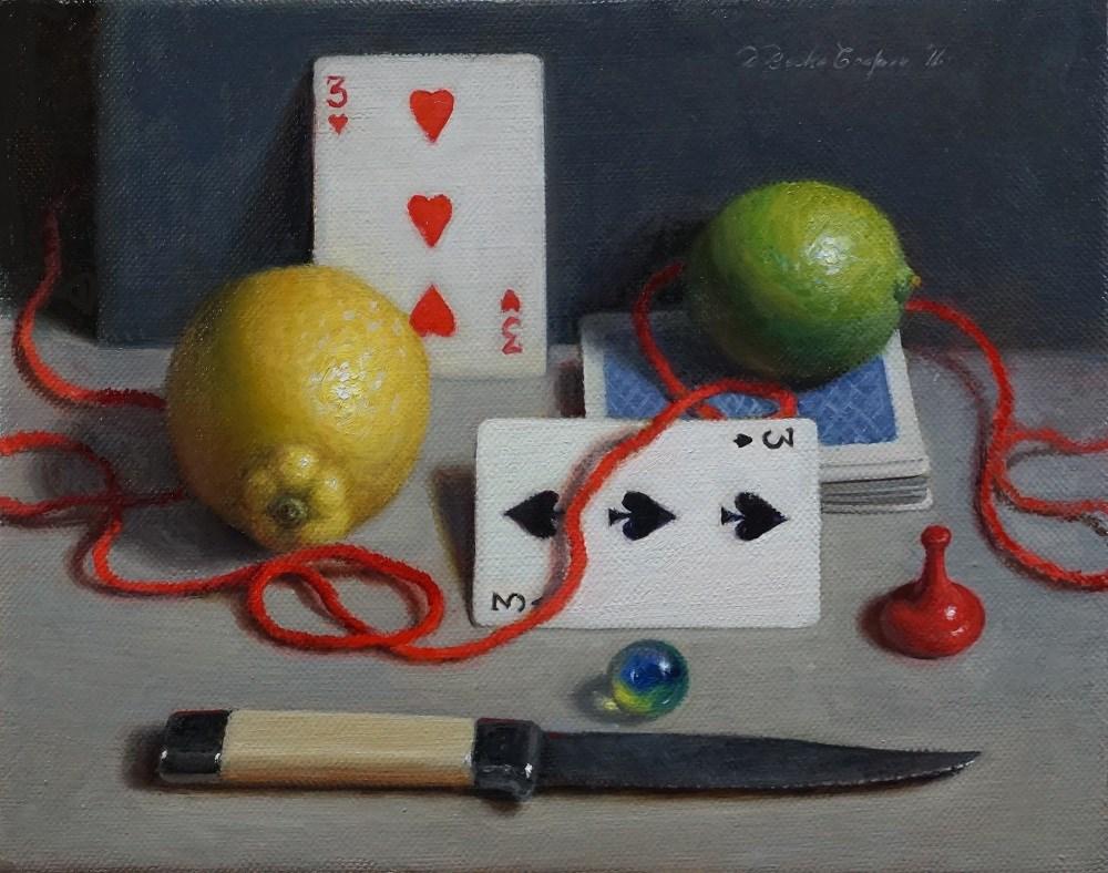 """Reds, Yellows, Blues, Green and Gray"" original fine art by Debra Becks Cooper"