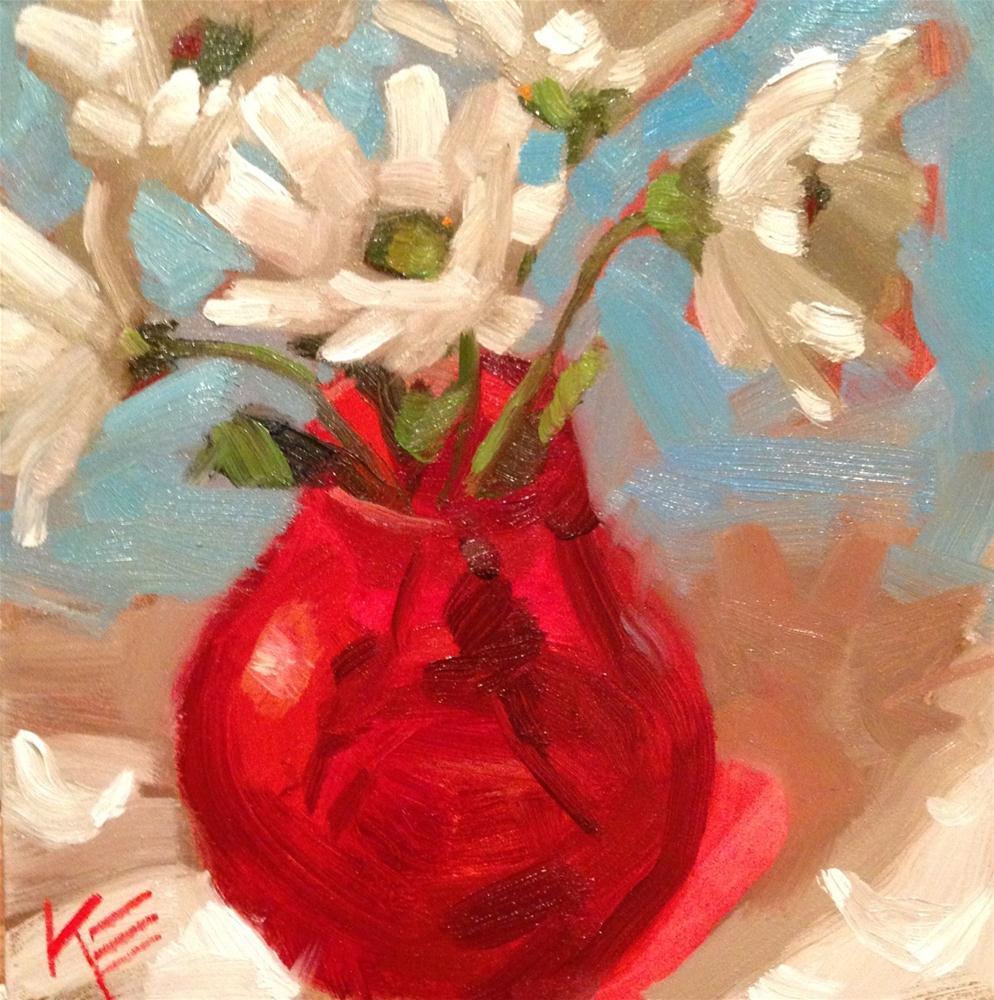 """Daisies in red"" original fine art by Krista Eaton"