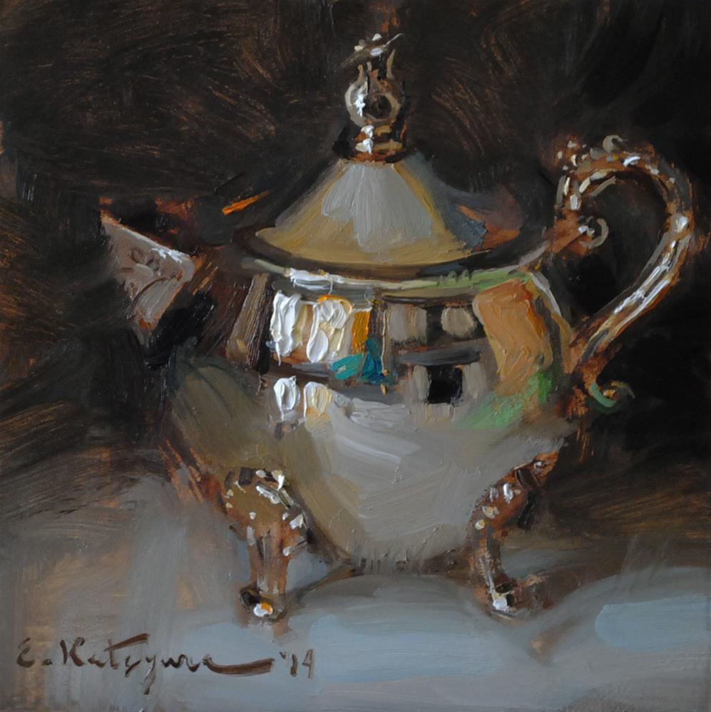 """Silver Creamer - SOLD"" original fine art by Elena Katsyura"