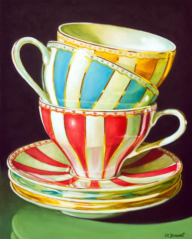 """""""Stacked Stripe Teacups"""" original fine art by Margaret Horvat"""