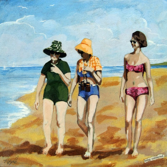"""""""Being Connected - women on the beach mixed media painting"""" original fine art by Linda Apple"""