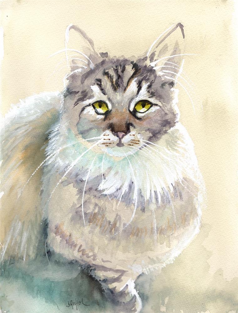 """Smokey Grey Cat"" original fine art by Bunny Griffeth"