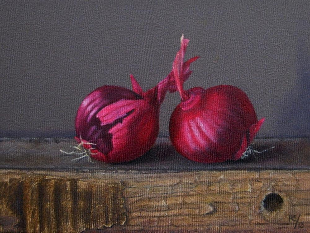 """Red Onions on Wood"" original fine art by Pera Schillings"