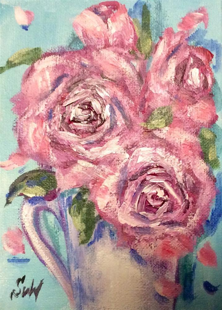 """""""Summer roses"""" original fine art by Sonia von Walter"""