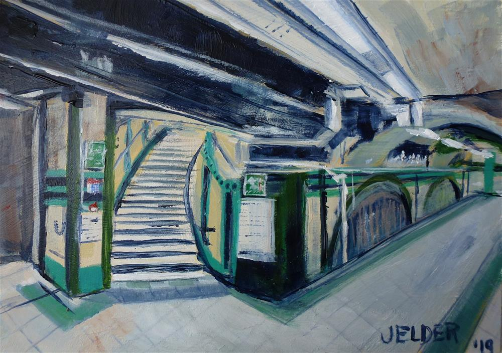 """Russell Square Tube Station"" original fine art by Judith Elder"