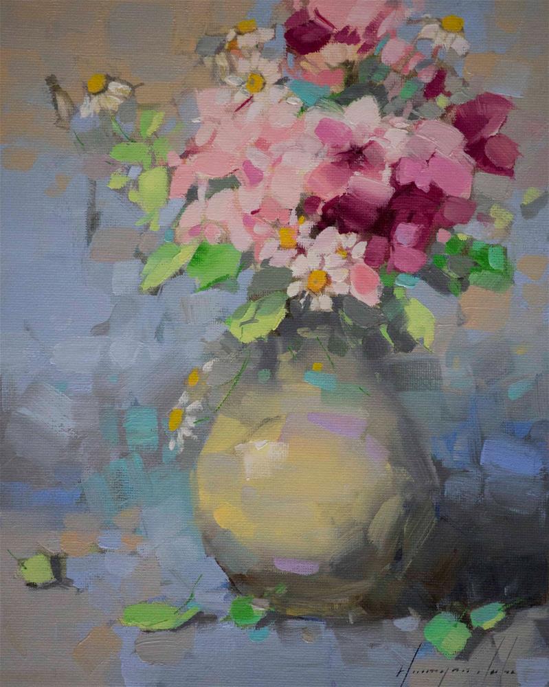 """Vase of Flowers Original oil Painting Handmade art"" original fine art by V Y"
