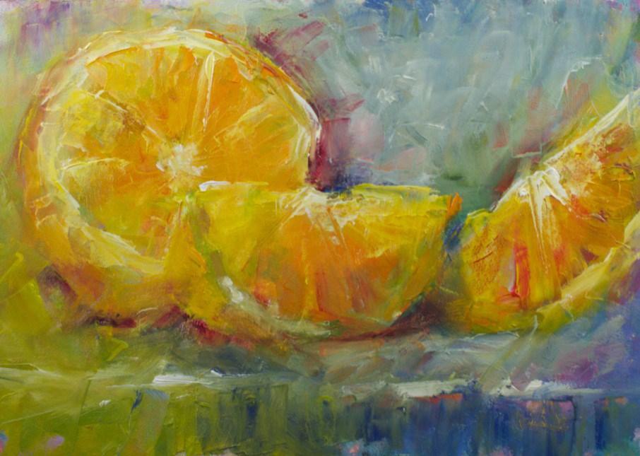 """""""Colorful Orange Slices"""" original fine art by Sue Churchgrant"""