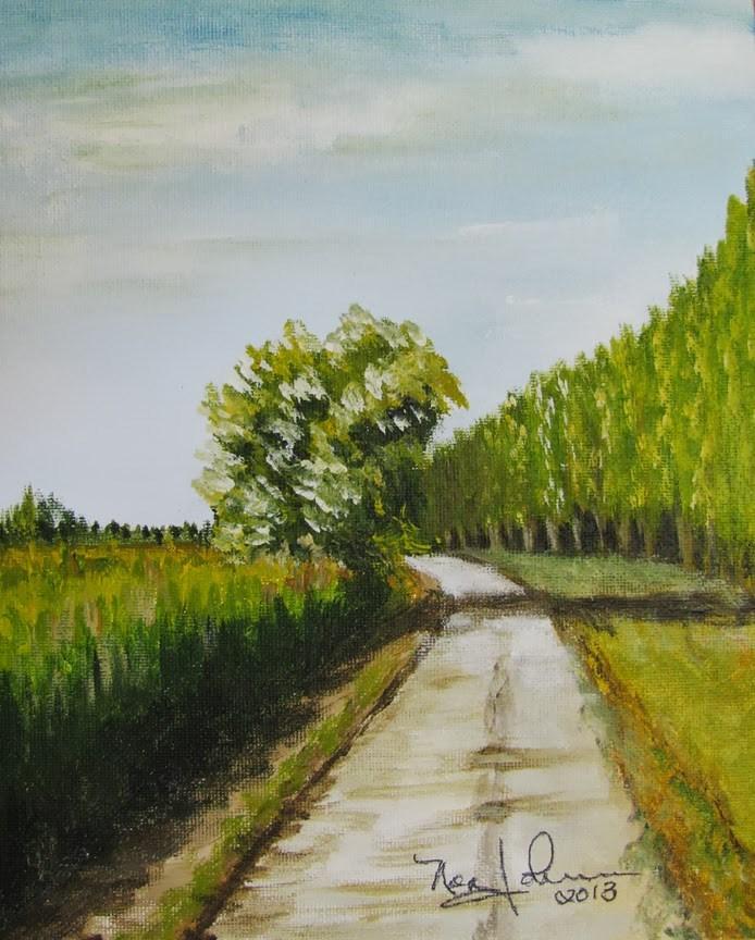"""Bend in the Road"" original fine art by Nan Johnson"